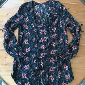 FREE PEOPLE Black Floral L/S Tunic Ruffle V-Neck S